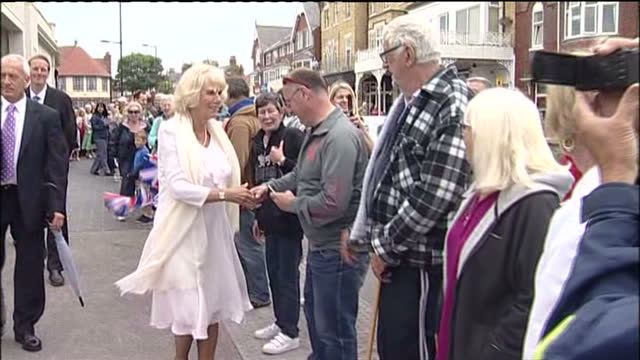 Exterior shots Camilla Duchess of Cornwall meets chats with various well wishers as she walks along the promenade in Bridlington Exterior shots...