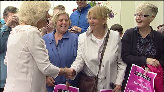 exterior shots camilla duchess of cornwall meets chats with well wishers during a visit to bridlington in east yorkshire charles camilla visit york... - bridlington stock-videos und b-roll-filmmaterial