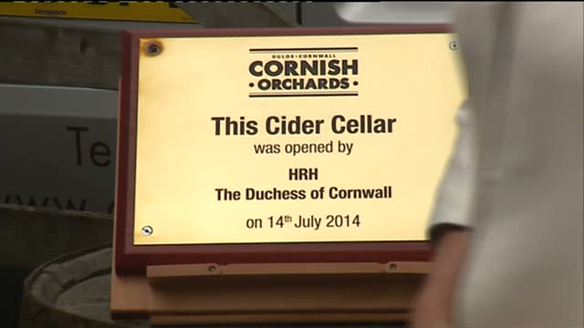 Exterior shots Camilla unveiling plaque opening cider cellar posing for photo opportunity on July 14 2014 in Liskeard England