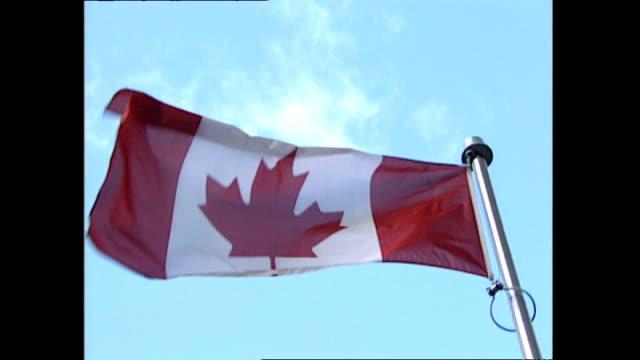 vídeos de stock e filmes b-roll de exterior shots canadian flags blowing in wind. on october 20, 1997 in toronto, canada. - bandeira do canadá