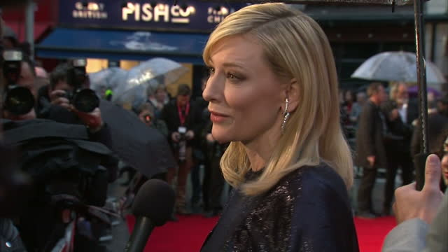 exterior shots cate blanchett, actress on red carpet talking to media at london premiere of 'carol'. . on october 14, 2015 in london, england. - fame stock videos & royalty-free footage