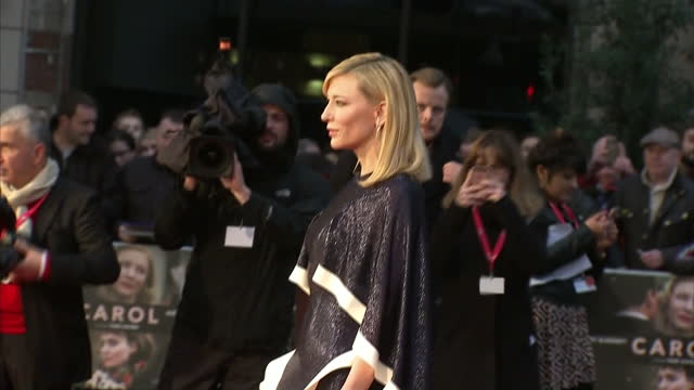 exterior shots cate blanchett actress posing on red carpet at london premiere of 'carol' on october 14 2015 in london england - 2015 stock videos & royalty-free footage