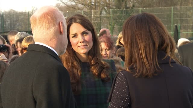 exterior shots catherine duchess of cambridge chats with school officials on the hockey field catherine on hockey field at st andrew's school on... - field hockey stock videos and b-roll footage