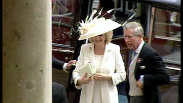 Exterior shots Charles Camilla arrive together at the Guildhall Windsor on 9th April 2005 Windsor England