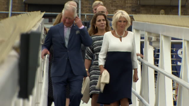 exterior shots charles prince of wales and duke of cormwall and camilla duchess of cornwall arriving to visit the newly refurbished 'maiden' yacht... - segeljacht stock-videos und b-roll-filmmaterial