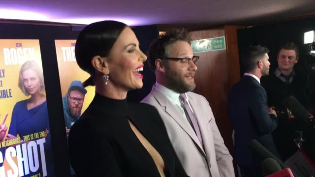 Exterior shots Charlize Theron and Seth Rogen talking to press at London premiere of 'Long Shot' on 25th April 2019 in London England