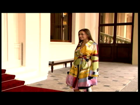 exterior shots charlotte church steps out of car, talks to press & poses on red carpet before entering buckingham palace - charlotte church stock videos & royalty-free footage