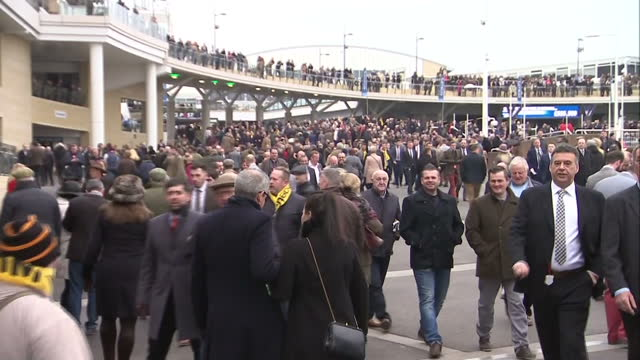 exterior shots cheltenham races guests arriving at racecourse on march 18 2016 in cheltenham england - cheltenham stock videos & royalty-free footage