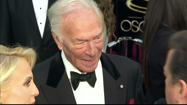 Exterior shots Christopher Plummer chats to reporters on the red carpet Christopher Plummer on the Red Carpet at Dolby Theatre on February 24 2013 in...