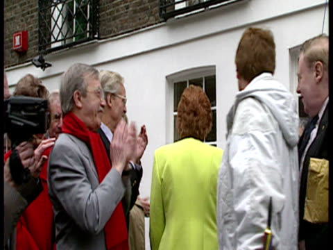 exterior shots cilla black unveils frankie howerd's memorial plaque along with june whitfield and john inman cilla black frankie howerd memorial... - memorial plaque stock videos and b-roll footage