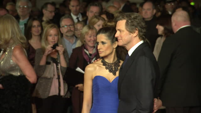 Exterior shots Colin Firth his wife pose for the media on the red carpet Colin Firth Poses on the Red Carpet on October 18 2012 in London England
