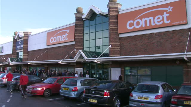 exterior shots comet store in bristol with long queues of people outside the entrance the electrical retailer comet has confirmed it won't accept... - bristol england stock videos & royalty-free footage