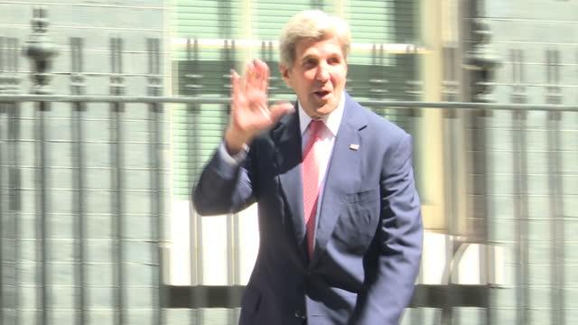 LONDON Exterior shots convoy arrives John Kerry US Secretary of State exits car and walks to door