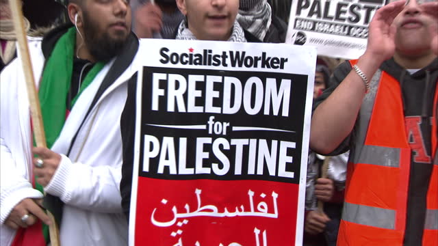 exterior shots crowds of protesters gathered in central london demonstrating with placards & banners demanding freedom for palestine & to the end of... - palestinian territories stock videos & royalty-free footage