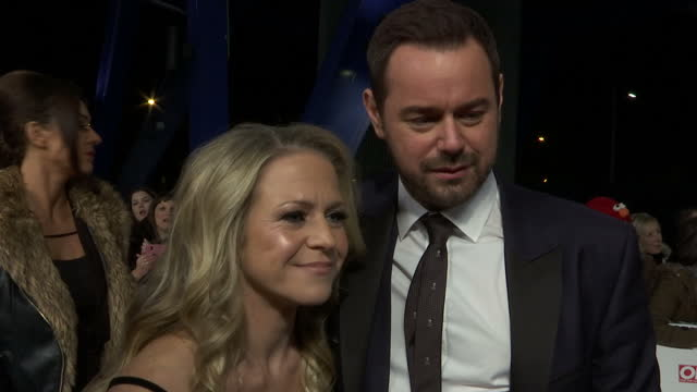 Exterior shots Danny Dyer actor and Kellie Bright actress on National Television Awards red carpet talking about comments made by Idris Elba on...