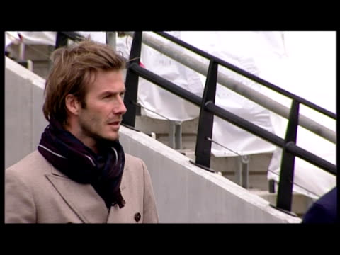 Exterior shots David Beckham being shown round Olympic Stadium with Lord Seb Coe David Beckham Visits Olympic Stadium on November 29 2010 in London...