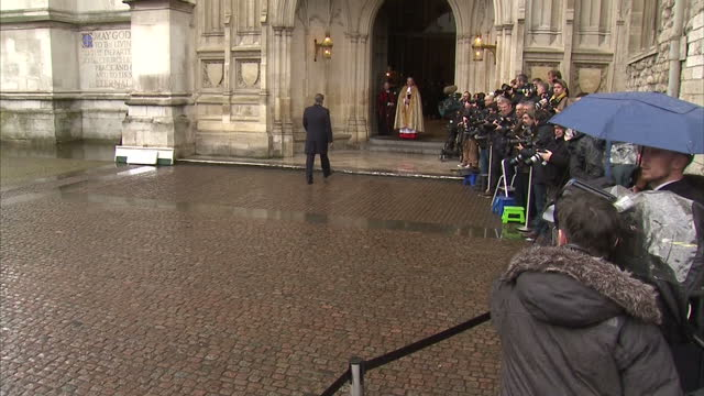 Exterior shots David Cameron British Prime Minister arrives at Westminster Abbey for Nelson Mandela memorial service on March 03 2014 in London...