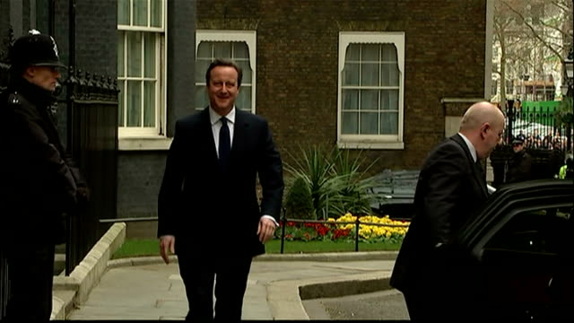 Exterior shots David Cameron Prime Minister gets into car outside Downing Street and heads for Buckingham Palace to inform the Queen that he has...