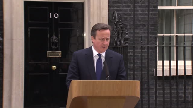Exterior shots David Cameron Prime Minister speaking outside 10 Downing Street after speaking to the Queen following the dissolution of Parliament...