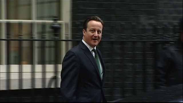 Exterior shots David Cameron wlk from No 10 Downing Street to car departs David Cameron departs for Press Regulation meeting on March 18 2013 in...