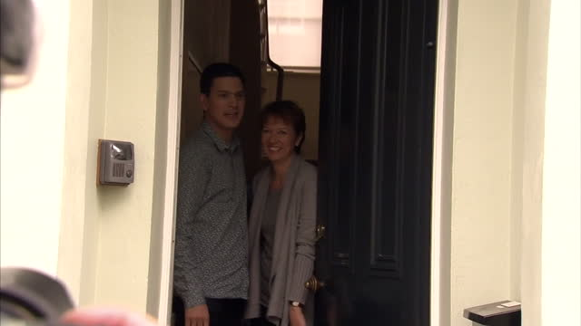 exterior shots david miliband his wife louise shackleton emerge from their home pose for photocall david miliband his wife pose for the media on... - david miliband stock videos & royalty-free footage