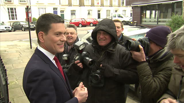 exterior shots david miliband walks along street exterior shots david miliband chats with media outside his home the former home secretary is set to... - david miliband stock videos & royalty-free footage