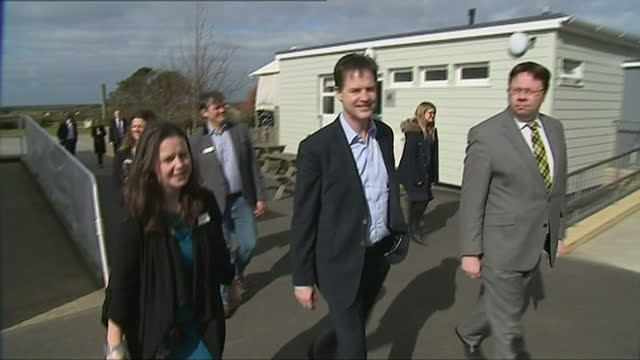 exterior shots deputy prime minister nick clegg arriving at st merryn school and meeting officials on march 05 2015 in padstow england - british liberal democratic party stock videos and b-roll footage
