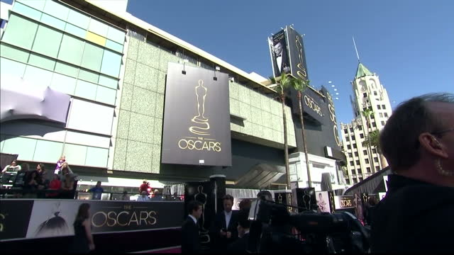 Exterior shots Dolby Theatre host for the 2013 Oscars with large crowds of media outside Exterior shots Dolby Theatre with large Oscar logos Dolby...