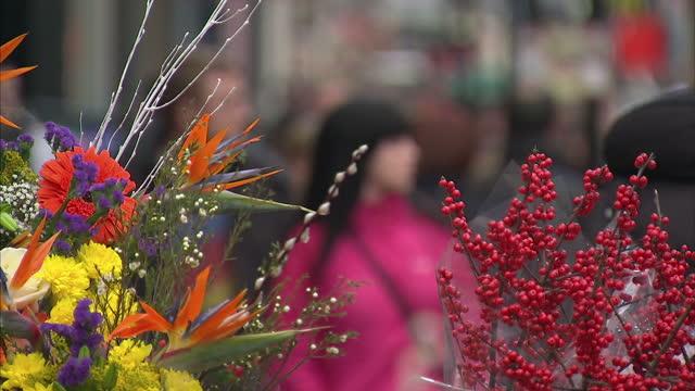 vídeos de stock, filmes e b-roll de exterior shots dublin city centre street scenes with shoppers & people walking along the street dublin city centre street scenes on december 17, 2010... - 1 minuto ou mais