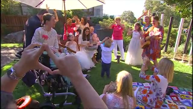 manly sydney exterior shots duchess of cambridge walks into garden and joins music therapy session singing twinkle twinkle little star with children - music therapy stock videos & royalty-free footage