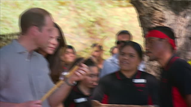 exterior shots Duke and Duchess of Cambridge presented with aboriginal gifts including bracelet and spear