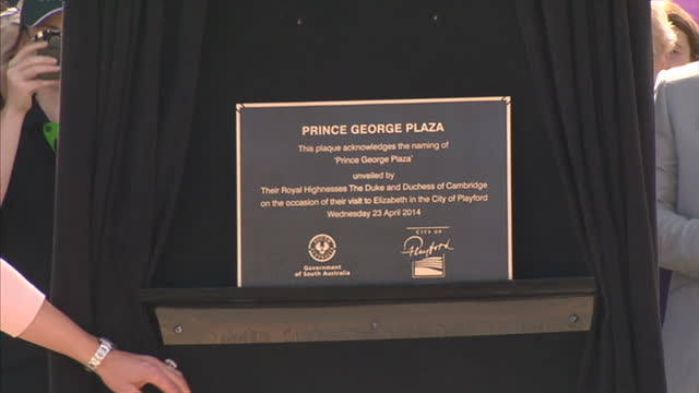 exterior shots duke and duchess of cambridge unveil plaque for opening of plaza - plaques stock videos & royalty-free footage