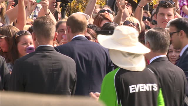 Exterior shots Duke of Cambridge speaking to members of crowd over barrier