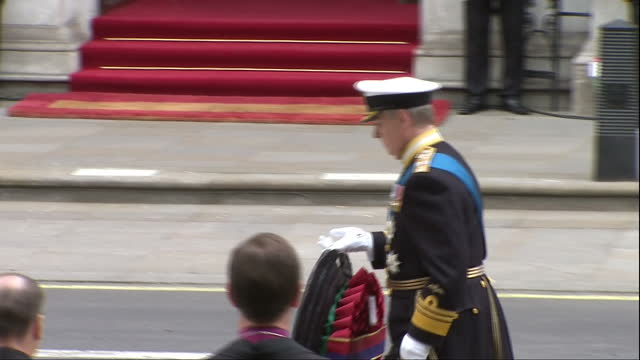 exterior shots duke of york prince andrew laying wreath at cenotaph on may 08, 2015 in london, england. - 70周年点の映像素材/bロール