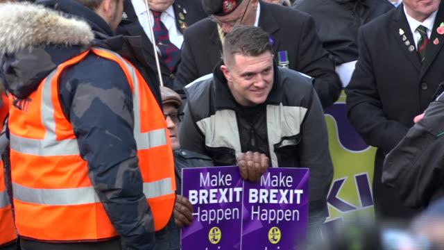 exterior shots edl founder stephen yaxleylennon aka tommy robinson takes part in a ukipbacked brexit betrayal rally on december 09 2018 in london... - 英国独立党点の映像素材/bロール