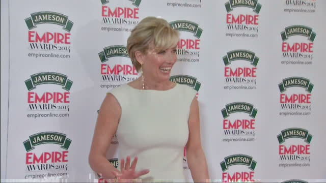 exterior shots emma thompson arrives and poses on march 30 2014 in london england - emma thompson stock videos & royalty-free footage
