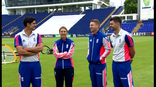 stockvideo's en b-roll-footage met exterior shots england cricketers james anderson, jos buttler, alistair cook, england cricket captain & charlotte edwards, england women's captain... - atlete