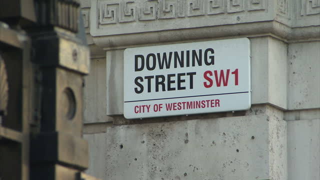 Exterior shots entrance gate and sign for Downing Street Exterior shots entrance gates to Downing Street British Prime Minister's offices on March 03...