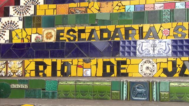 Exterior shots Escadaria Selaron detailing on tiles and tile artwork various pictures Escadaria Selaron Artwork on June 24 2013 in Rio de Janeiro...