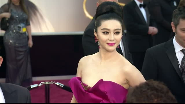 Exterior shots Fan Bingbing walks along the red carpet Fan Bingbing on the Red Carpet at Dolby Theatre on February 25 2013 in Hollywood California