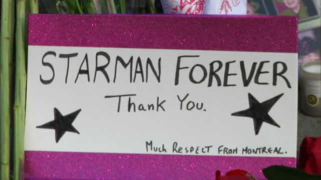 """exterior shots floral tributes on pavement outside home of david *bowie*, lots of flowers & sign, reads """"starman forever"""" - pavement点の映像素材/bロール"""