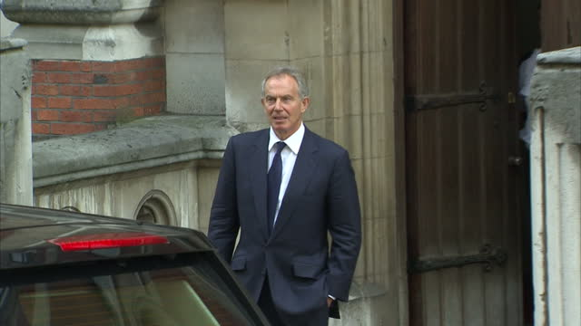 exterior shots former Prime Minister Tony Blair walks from Royal Courts of Justice after giving evidence to the Leveson Inquiry and gets in car Tony...