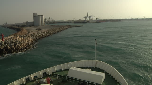 exterior shots from front of ferry entering misratah port on april 23 2011 in az zawiyah libya - az zawiyah stock videos & royalty-free footage