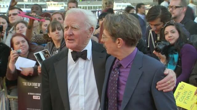exterior shots gary oldman & novelist john le carre pose on the red carpet at the premiere of tinker tailor soldier spy gary oldman & john le carre... - デビッド コーンウェル点の映像素材/bロール