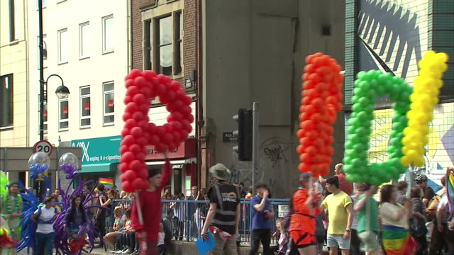 exterior shots gay pride parade in belfast on august 06 2016 in belfast northern ireland - belfast stock videos & royalty-free footage