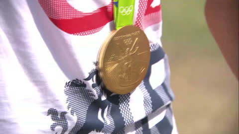 exterior shots gold medals won at rio 2016 olympic games by hannah mills and saskia clark, team gb sailors. on august 21, 2016 in rio de janeiro,... - medal stock videos & royalty-free footage