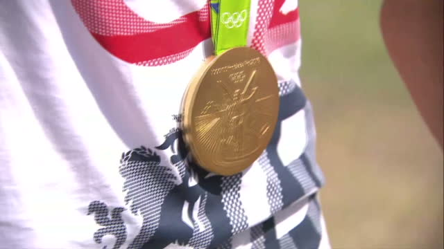 exterior shots gold medals won at rio 2016 olympic games by hannah mills and saskia clark team gb sailors on august 21 2016 in rio de janeiro brazil - gold medal stock videos & royalty-free footage