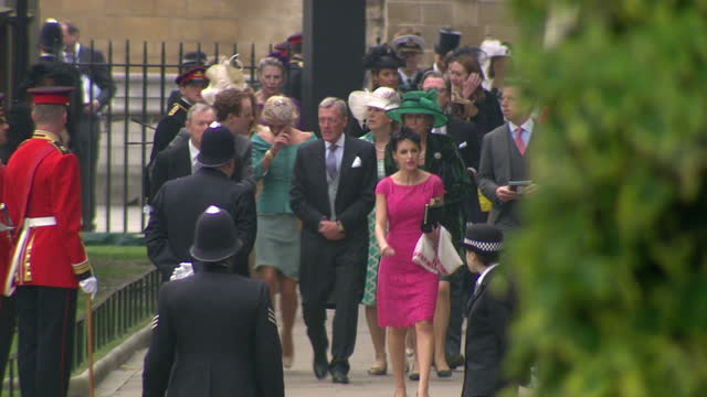 Exterior shots guests arrive at Westminster Abbey including Chelsy Davy girlfriend of Prince Harry Sky News Royal Wedding Procession Footage on April...