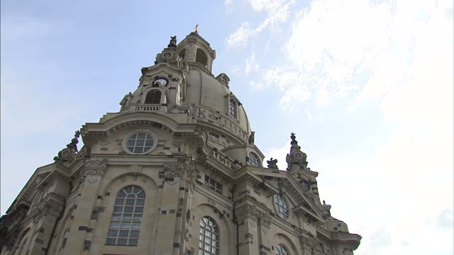 exterior shots helicopter in sky, tourists walking around town square, dresden frauenkirche, church of our lady, lutheran church, neumarkt, new... - dresden frauenkirche stock videos & royalty-free footage