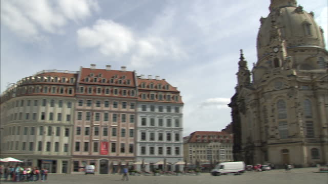exterior shots helicopter in sky, tourists walking around town square, dresden frauenkirche, church of our lady, lutheran church, dresdner neumarkt... - dresden frauenkirche stock videos & royalty-free footage